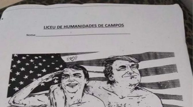 Charge com Bolsonaro e Trump na cama gera polêmica e afastamento de professor em Campos
