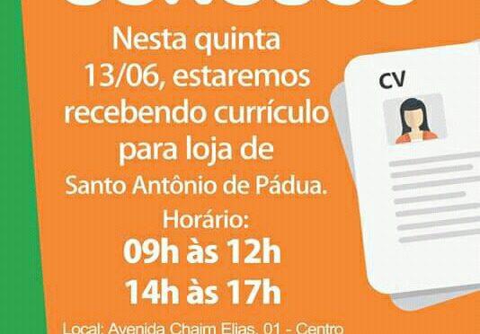REPRESENTANTES DO MERCADO FLUMINENSE ESTARÃO RECEBENDO CURRÍCULOS EM PÁDUA